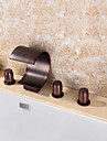 Contemporary Tub And Shower Waterfall Widespread Handshower Included with  Ceramic Valve Three Handles Five Holes for  Oil-rubbed Bronze,