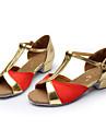 Chaussures de danse(Bleu Rouge Argent Or) -Non Personnalisables-Talon Bas-Satin-Latines