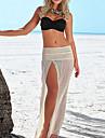 Dame Fuste-Leagăn Solid Tul-Plajă Sexy-Talie Medie Maxi Elasticity Polyester Inelastic vară