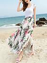 Damă Leagăn Boho,Plajă Nuntă Midi Fuste Șifon Floral Primăvara Vara