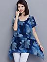 Damă Rotund Bluză Casul/Zilnic Plus Size Simplu(ă),Floral Manșon scurt Vară-Albastru Maro Mediu Poliester