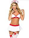 Costumes de Cosplay Infirmiere Fete / Celebration Deguisement d\'Halloween Blanc Couleur Pleine Haut JupeHalloween Carnaval Nouvel an Fete