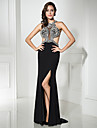 Formal Evening Dress Trumpet / Mermaid Scoop Sweep / Brush Train Jersey with Beading