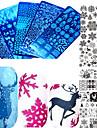 1st söt jul spik rostfritt stål stämpling platta färgstarka image design vacker snöflinga diy spik verktyg manikyr skönhets stenciler