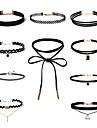 Pentru femei Seturi de bijuterii Coliere Choker tatuaj cravată Ștras Zirconiu Cubic Bowknot Shape Geometric Shape Y în formă Dantelă Aliaj