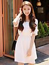 vară coreeană femei noi&# 39; s dulce mici lenjerie din bumbac proaspete cu mâneci scurte o linie rochie subțire rochie de talie