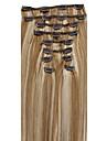 20-26inch (10pcs) / set cheveux bresiliens 10 couleurs doubles trames clip dans agrafe droite dans des extensions de cheveux humains