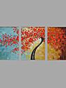 Peint a la main Paysage A fleurs/Botanique Horizontale,Pastoral Moderne Trois Panneaux Toile Peinture a l\'huile Hang-peint For Decoration
