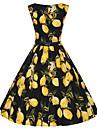 Damă Ieșire Casul/Zilnic Nuntă Vintage Drăguț(e) Swing Rochie-Floral Fără manșon Stil Nautic Lungime Genunchi Bumbac Poliester VarăTalie
