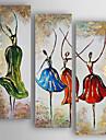 Pictat manual Abstract Pătrat,Modern Trei Panouri Canava Hang-pictate pictură în ulei For Pagina de decorare