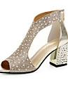 Damă Sandale Confortabili PU Primăvară Casual Confortabili Toc Plat Auriu Argintiu Plat