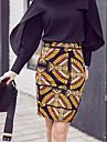 Fuste-Bodycon Imprimeu Tricotaj-Casul/Zilnic Muncă Boho-Talie Inaltă Lungime până la genunchi Fermoar Polyester Elastic Primavara vară