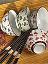 clous de girofle chanceux porcelaine a haute temperature manger BOL avec quatre couleurs differentes, baguettes inclus