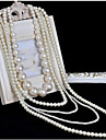 Femme Collier multi rangs Collier de perles Forme de Croix Perle Mode Multicouches Blanc Gris Clair Bijoux PourOccasion speciale