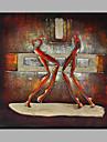 Pictat manual Abstract Oameni Pătrat,Modern Un Panou Canava Hang-pictate pictură în ulei For Pagina de decorare