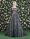 A-line bijuterie gât matura / perie tren dantelă tul rochie seara cu floare