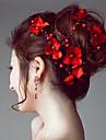 Satin Imitație de Perle Diadema-Nuntă Ocazie specială Exterior Cordeluțe Flori Lănțișor de cap Εργαλείο μαλλιών 1 Bucată
