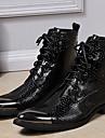 Bărbați Cizme Primăvară Vară Toamnă Iarnă Pantofi formale Nappa Leather Outdoor Birou & Carieră Casual Party & Seară Negru