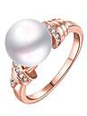 Inele Afirmatoare Inel Imitație de Perle La modă Personalizat Euramerican bijuterii de lux Plastic Imitație de Perle Circle ShapeAuriu