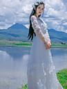 O piesă/Rochii Clasic/Traditional Lolita Inspirație Vintage Elegant Prințesă Cosplay Rochii Lolita Roz Alb Albastru Dantelă Vintage