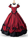 Une Piece/Robes Lolita Classique/Traditionnelle Victorien Cosplay Vetrements Lolita Rouge Couleur unie Ras du Sol Jupe Noeud PourTissu