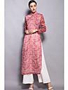 Damă Stand Cămașă Pantaloni Costume Zilnice Zilnic Chinoiserie,Imprimeu Manșon Lung Primăvara Vara-Crăpătură Înaltă Elasticitate