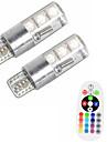 2pcs t10 w5w 5050 smd rgb voiture lecture lampe lampe 6 conduit 16 couleurs led flash / strobe ampoule avec telecommande dc12v