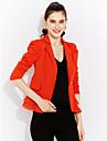 Dame Rever Peaked Blazer Plus SizeMată Manșon Lung Toamnă-Roz / Alb / Negru / Oranj Mediu Poliester
