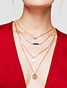 Pentru femei Coliere Layered Round Shape Heart Shape Placat Auriu Aliaj Inimă Multistratificat La modă Auriu Bijuterii Pentru Zilnic 1 buc