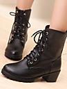 Femme Chaussures Polyurethane Automne Hiver Confort Bottes Gros Talon Bout rond Avec Pour Decontracte Blanc Noir Marron