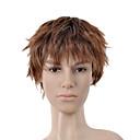 kratka kovrčava zlatno smeđa puna bang muškaraca kosa vlasulja