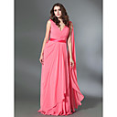 Prom / Military Ball / Formal Evening Dress - Watermelon Plus Sizes / Petite A-line / Princess V-neck Floor-length Chiffon / Stretch Satin
