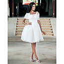 Lanting Bride Ball Gown Petite / Plus Sizes Wedding Dress-Knee-length Square Organza / Taffeta