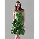 Lanting Bride® 膝丈 サテン ブライドメイドドレス - Aライン / プリンセス ストラップレス プラスサイズ / ペティート とともに ピックアップスカート / フリル