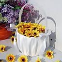 jednoduchý květ koš v bílém saténu se stuhou lukem květin koše