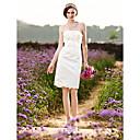 Pouzdrové Svatební šaty - Elegantní & moderní Šaty na hostinu Malé bílé Ke kolenům Bez ramínek Satén sMašle Květiny Nabírané Šerpa /