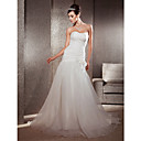 Lan Ting Fit & Flare Plus Sizes Wedding Dress - Ivory Chapel Train Sweetheart Organza