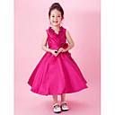 Lanting nevjesta ® a-linije / princeza čaj duljine cvijet girl haljina - taft rukava V-izrez lukom (s)