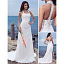 Sheath/Column Plus Sizes Wedding Dress - Ivory Court Train Halter Chiffon