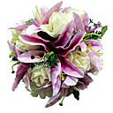 """Svatební kytice Kulatý Růže Kytice Svatba Satén Fialová 28 cm (cca 11,02"""")"""