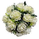 """Svatební kytice Kulatý Růže Kytice Svatba Satén Slonová kost 28 cm (cca 11,02"""")"""