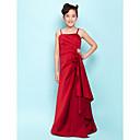 Lanting Bride® Na zem Satén Šaty pro malou družičku A-Linie / Princess Špagetová ramínka Přirozený sBoční řasení / Kaskádové řasení /