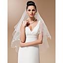 Vjenčani velovi One-tier Prsta Burke Pencil Edge Pearl Trim Edge 37.4 u (95cm) Til Bijela SlonovačaRetka, Ball haljina, princeza, Plašt /