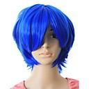 capless alto grado di qualità sintetico di colore blu capelli corti parrucca