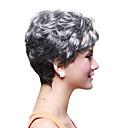 senza cappuccio corto di alta qualità parrucca sintetica dei capelli mossi