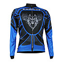 Kooplus Quick Dry Men's Long Sleeve Cycling Jersey (Blue Flying Wolf)