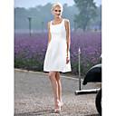 LAN TING BRIDE A-Linie Princess Svatební šaty - Elegantní & moderní Šaty na hostinu Malé bílé Krátký / Mini Kopeček Taft sSklady Šerpa /