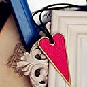 Ženska kožna ogrlica srce dugo