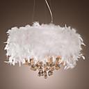 Kristalni luster s 3 svjetla i bijelim perjem