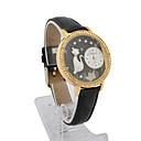 Ženska kožna kvarcnog stakla pokret okrugli oblik s bižuterija dress sat